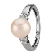 Second Hand 9ct White Gold Cultured Pearl and Diamond Ring