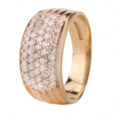 Second Hand 9ct Yellow Gold Pave Diamond Five Row Ring 4111864