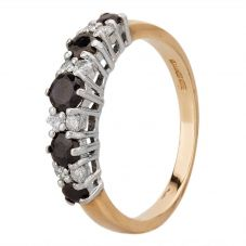 Second Hand 9ct Yellow Gold Sapphire and 0.15ct Diamond Half Eternity Ring HGM(10/3/13)9/18