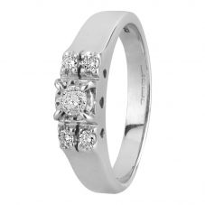 Second Hand 9ct White Gold 0.20ct Diamond Five Stone Ring