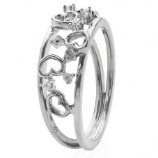 Second Hand 18ct White Gold Diamond Set Open Heart Ring