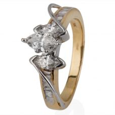 Second Hand 14ct Yellow Gold Marquise Diamond Three Stone Cluster Ring 4112192