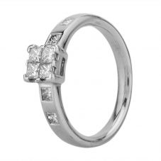 Second Hand 18ct White Gold Princess Cut Diamond Quad Cluster Ring J479376(413)