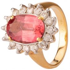Second Hand Pink Tourmaline and Diamond Cluster Ring