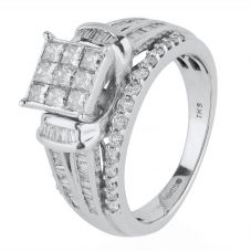 Second Hand 9ct White Gold Multi Diamond Ring