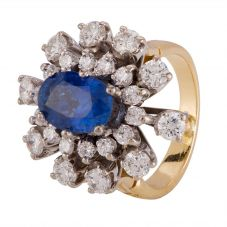 Second Hand Sapphire and Diamond Hinged Ring