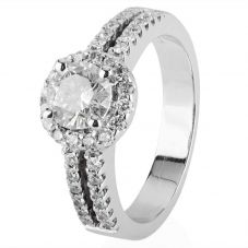 Second Hand 18ct White Gold Halo Single Diamond Ring 4112409