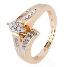 Second Hand 14ct Yellow Gold Diamond Twist Cluster Ring