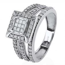 Second Hand 14ct White Gold Square Diamond Cluster Ring