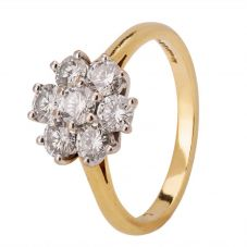 Second Hand 18ct Yellow Gold 1.00ct Diamond Cluster Ring
