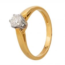 Second Hand 9ct Yellow Gold 0.30ct Diamond Solitaire Ring H478595(434)