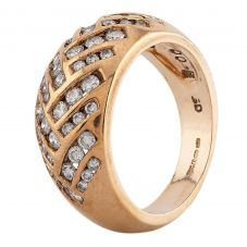 Second Hand 9ct Yellow Gold Diamond Graduating Pattern Ring