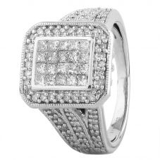 Second Hand 9ct White Gold 1.00ct Diamond Cluster Ring 4112567