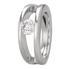 Second Hand Platinum 0.70ct Tension Set Diamond Solitaire Ring