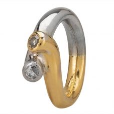Second Hand 18ct Two Colour Gold Diamond Twist Ring