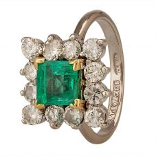 Second Hand Emerald and 1.10ct Diamond Square Halo Ring