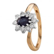 Second Hand 18ct Two Colour Gold Sapphire and Diamond Halo Twist Ring