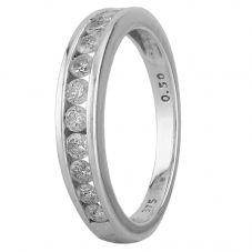 Second Hand 9ct White Gold 0.50ct Diamond Channel Set Half Eternity Ring
