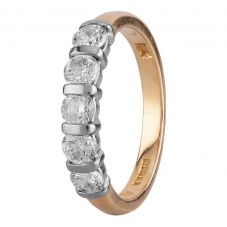 Second Hand 18ct Two Colour Gold 0.70ct Diamond Five Stone Tension Set Ring