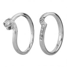 Second Hand 0.33ct Diamond Solitaire and Half Eternity Bridal Set