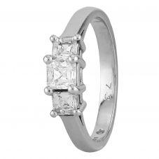Second Hand Platinum 0.73ct Square Cut Diamond Trilogy Ring J511138(445)