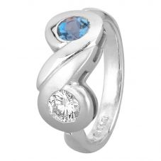 Second Hand Platinum 0.30ct Aquamarine and Diamond Ring
