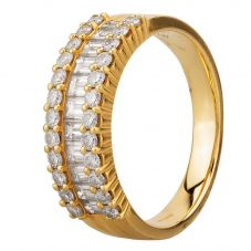 Second Hand 18ct Yellow Gold 1.65ct Baguette and Round Cut Diamond Three Row Ring