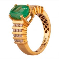 Second Hand 18ct Yellow Gold Oval Cut Emerald and Diamond Ring