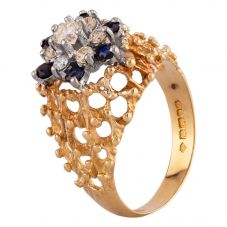 Second Hand 18ct Yellow Gold Diamond and Sapphire Cluster Ring