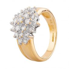 Second Hand 18ct Yellow Gold 1.00ct Diamond Cluster Ring R517215(451)
