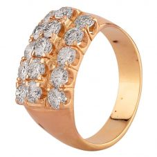 Second Hand Yellow Gold 2.00ct Diamond Three Row Ring