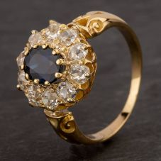 Second Hand 9ct Yellow Gold Old Cut Diamond Sapphire Ring