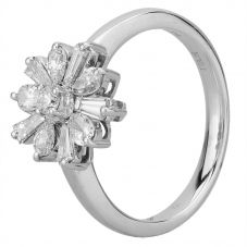 Second Hand 18ct White Gold 0.70ct Brilliant and Baguette Diamond Cluster Ring L511569(456)