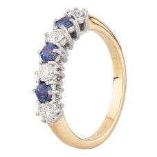 Second Hand 18ct Yellow Gold 0.35ct Sapphire and Diamond Half Eternity Ring I499630(455)
