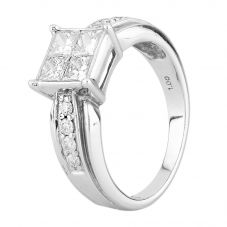 Second Hand 18ct White Gold 1.00ct Princess and Brilliant Cut Diamond Ring C0512054(455)
