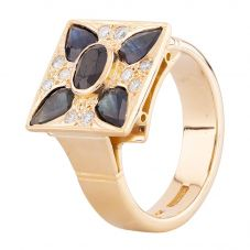 Second Hand 14ct Yellow Gold Fancy Sapphire and Diamond Square Cluster Ring S605207(455)