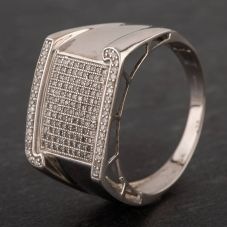 Second Hand 9ct White Gold Diamond Pave Fancy Signet Ring
