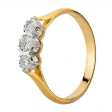 Second Hand 18ct Yellow Gold Diamond Trilogy Ring LOT489(06/19)