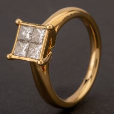 Second Hand 18ct Yellow Gold Princess Cut Diamond 4 Stone Cluster Ring