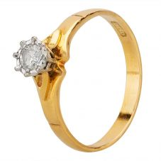 Second Hand 18ct Yellow Gold 0.25ct Diamond Solitaire Ring D600642(458)