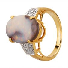 Second Hand 18ct Yellow Gold Oval Opal Diamond Shoulder Ring HGM33/04/06(06/19)