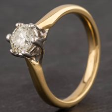 Second Hand 18ct Yellow Gold 0.50ct Diamond Six Claw Solitaire Ring