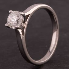 Second Hand Platinum 0.60ct Round Brilliant Diamond Four Claw Solitaire Ring