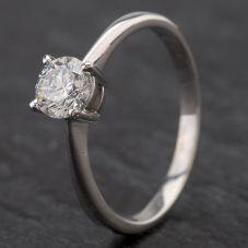Second Hand 9ct White Gold Diamond Single Stone 4 Claw Diamond Set Ring