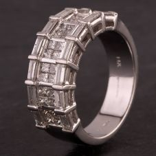Second Hand 14ct White Gold Baguette and Princess 2.00ct Diamond Half Eternity Band Ring
