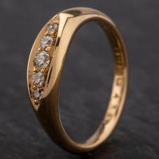 Second Hand 18ct Gold Antique Hallmarked 1920 Birmingham Old Cut Diamond 5 Stone Ring