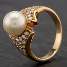 Second Hand 14ct Gold Cultured Pearl And Pave Set Diamond Shoulder Ring