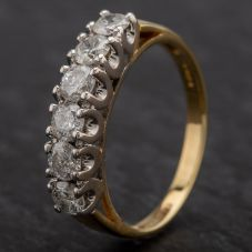 Second Hand 18ct Yellow Gold Diamond 6 Stone 1/2 Eternity Ring