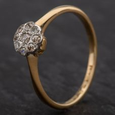 Second Hand 18ct Old Cut Diamond Round Cluster Ring