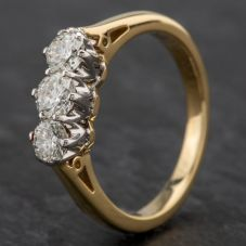 Second Hand 18ct Yellow Gold Diamond 3 Stone Ring